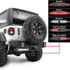 Rock Crawler Rear Bumper+Twin LED Taillight Bar+Hitch for 18-19 Jeep Wrangler JL