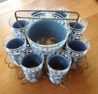 Vintage 1950's Jeanette Blue Hellenic 8 Tumbler Caddy Set with Ice Bucket