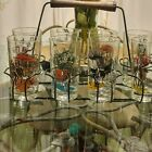 1950'S ANCHOR HOCKING GAY NINETIES TUMBLERS WITH WIRE CARRIER