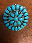 Native American Womens Navajo Turquoise Huge Cluster Ring Size 75 B Stunning