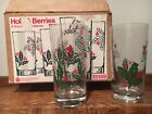 Vtg Wheaton Christmas Glass Set HOLLY BERRIES 12oz Water Tumblers Holiday