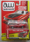 1972 Ford Mustang Mach 1 Red AUTO WORLD DIE CAST 164 CAR w BOX