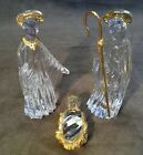 Nativity Set made By Gorham In Germany Crystal With Gold Accents Beautiful