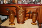 Vintage Amber Glass Pitcher W/3 Glasses Daisy Flowers Scrolls