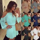 Women's Long Sleeve Chiffon Dress Off Shoulder Party Dress Boho Beach Sundress
