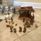 Vintage Anri Italian Hand Carved Wooden 20pc Kuolt Nativity Set