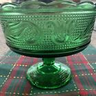 vintage green glass pedestal candy dish EO Brody Cleveland OH 1950s Rare New