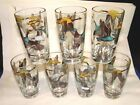 7 MCM Mid Century Modern Geese in Flight Glass Tumblers,Ice Tea-Water Glasses