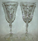 2 Vintage Rock Sharpe Halifax Pattern Water Wine Goblet Stem Glasses