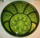 Large Vintage Serving Tray Plate Green Glass Deviled Egg Divided 60's Indiana EC