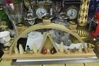 ERZGEBIRGE CHRISTMAS NATIVITY SCENE BOW WITH 5 CANDLE HOLDERS HAND CARVED