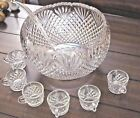 Vintage L.E. Smith Glass Co. Punch Bowl Set Pineapple Design with 12 Cups