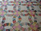 ANTIQUE VINTAGE DOUBLE WEDDING RING QUILT HAND QUILTED AND PIECED SCALLOPED