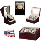 Sanders Leather Watch Winder Storage Display Case Box 4+6 Automatic Rotation Red