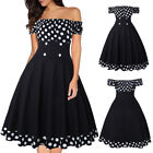 Womens Off Shoulder Vintage 50s Pinup Swing Evening Party Rockabilly Retro Dress