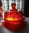 Glowing LE Smith Moon Stars Amberina Glass Covered Domed Butter Cheese Dish