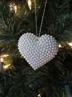 White Pearl Heart Christmas Valentines Day Ornament  New