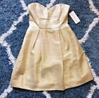 SHOSHANNA metallic gold silk blend strapless dress with pockets size 0 BNWT