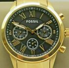 NWT FOSSIL Chronograph Watch BQ2387IE Men's 44mm Black Dial Gold Stainless $175