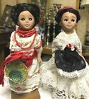 Vintage Ethnic Dolls Pair Mexico Mexican Spain Hard Plastic Native Outfits