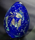 Egg Shaped Glass Studio Paperweight 35 Cobalt With Dichroic Shards 94