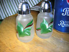 Hazel AtlasGlass GayFadPainted Vintage Salt and Pepper  GrnFloral USA  GUC