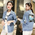 Chic Women Vintage Denim Ripped Embroidery Jacket Loose Casual Jean Coat Outwear