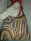 LUCKY BRAND Multi Color Swirled Suede Strips Hobo Bag Shoulder Tote Purse HTF