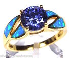 18k Gold Over Sterling Silver Wt 2 Ct Tanzanite  Blue Fire Opal Inlay Ring 6 9