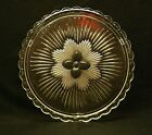 Indiana Glass 3 Tab Footed Cup Cake Plate w Pansy Flower Center Scalloped Edge