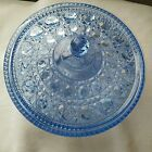 Vintage Blue Depressed Glass Candy Dish with Lid Excellent  Condition