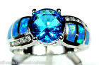 Hot Blue Topaz  Blue Fire Opal Inlay Solid 925 Sterling Silver Ring sz 6789