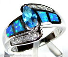 London Blue Topaz  Blue Fire Opal Inlay 925 Sterling Silver Ring Size 6789