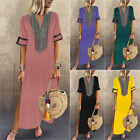 Plus Size Womens V-Neck Long Maxi Dress Tunic Split Summer Holiday Beach Dress