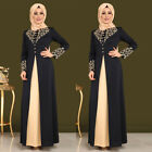 Women Arab Print Abaya Dubai Maxi Dress Long Sleeve Islamic Muslim Jilbab Robe