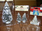 VINTAGE LEMAX  VILLAGE COLLECTION EVERGREEN TREES AND LOGHTED TREE 3 PK. NEW