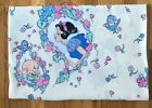 Vintage Disney Flat Sheet Characters Snow White Dopey Twin Size Craft Fabric VGC