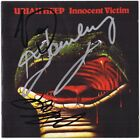 URIAH HEEP Innocent Victim - JOHN LAWTON MICK BOX & KEN HENSLEY Autograph SIGNED