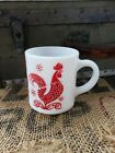 Vintage Fire King Anchor Hocking Red Chicken Rooster Coffee Stacking Cup mug