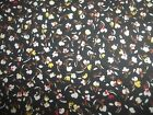 Flowers On Black Floral Spring Bty Cotton Quilt Fabric U-pick Read For Info