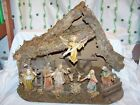 Vintage Large Manger Nativity Set Christmas Made In Italy 22 long 17 Tall