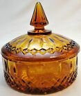 Vintage Indiana Glass Covered Candy Dish Amber Gold Round Princess Pattern