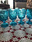 L.E.Smith Moon And Stars Blue Goblets Set Of 4   RARE