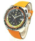 Colorful Vintage Enicar Sherpa Guide Automatic GMT 166-35-04 Stahl/Lederband