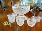 EAPG Inverted Strawberry Childrens PUNCH BOWL SET Childs Cambridge Clear
