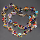 VINTAGE MURANO MILLEFIORI GLASS BEAD NECKLACE HAND KNOTTED  CAPPED ITALY ART