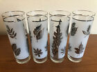 Four (4) Libbey Silver Leaf 12oz Frosted Collins High Ball Glasses Barware EUC