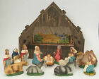 Vintage Nativity Set Made in Italy 13 Pieces Cardboard Manger