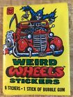1980 Topps Weird Wheels Stickers Unopened Wax Pack