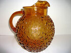 Vintage Ball Pitcher Amber Glass Anchor Hocking Milano Retro Kitchenware